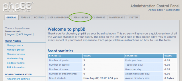 Forum Users Permissions on phpBB forum.